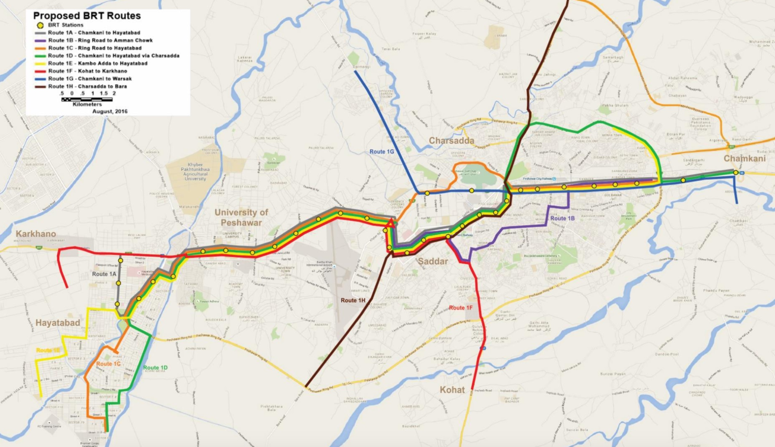 All Peshawar Metro Routes - Corridor and Feeder Routes